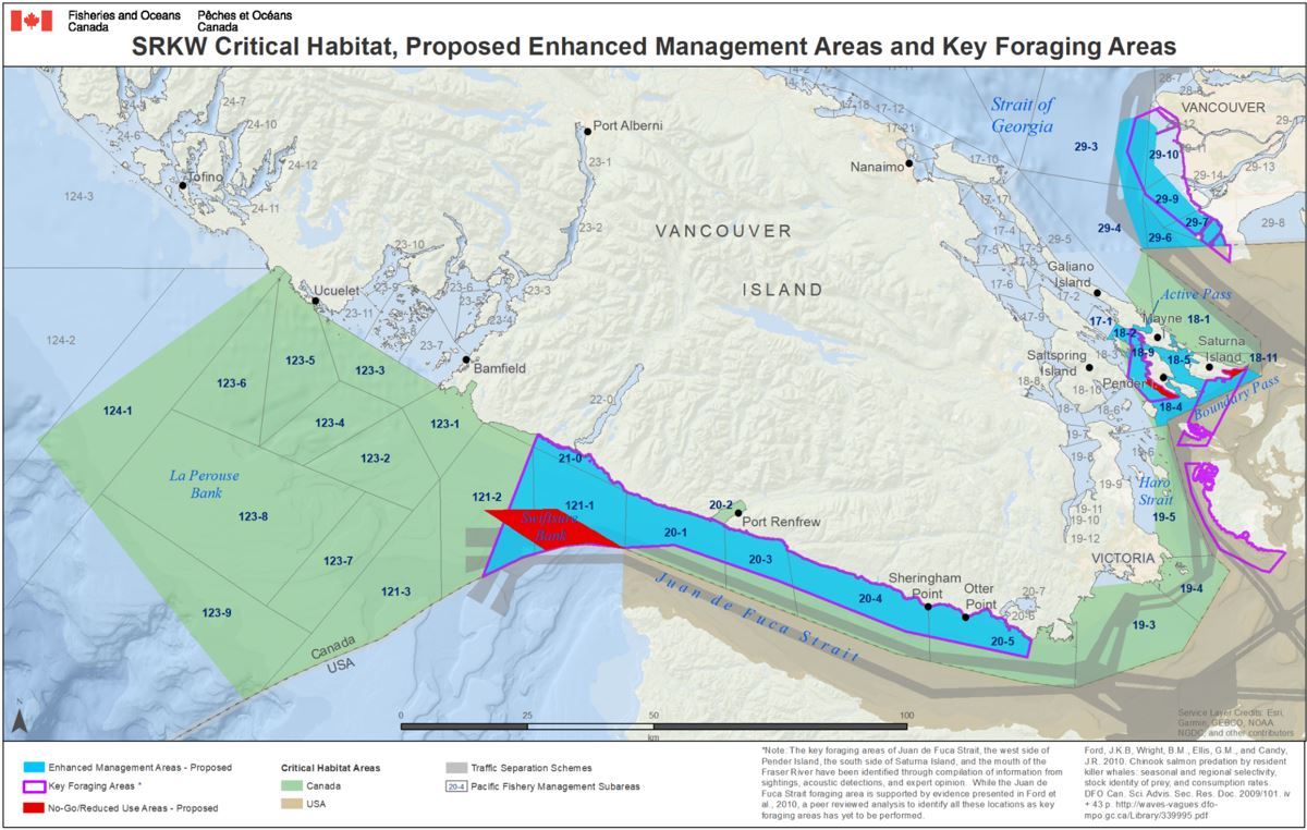 SRKW Critical Habitat, Proposed Management Areas & Key Foraging Areas